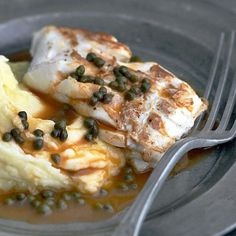 Pan-fried Pollock Fillet on a Purée of Potatoes with a Caper Sauce - The Happy Foodie