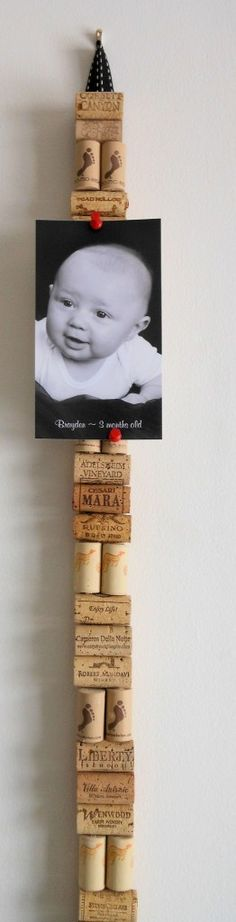 Love my vertical cork board out of wine corks on a yardstick!