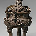 Lot 1359,A bronze 'dragon' censer and cover, Qing dynasty, 19th century.Estimate USD 6,000 ~ 8,000. Lot...