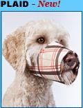 """""""Happy Muzzle"""" dog muzzle plaid"""