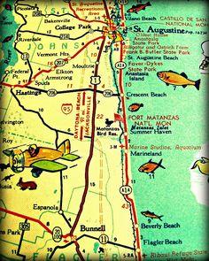 vintage map ST AUGUSTINE retro florida photo