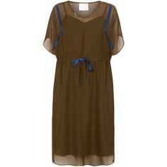 Evans Plus Size Vita Gotlieb Green Dress ($125) via Polyvore featuring dresses, khaki, women, plus size knee length dresses, womens plus dresses, a line dress, v neck a line dress and plus size short sleeve dresses