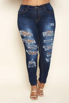 DETAILS A pair of sexy skinny jeans with distressed patches along both legs. Made with a frayed style, medium denim wash, high rise waist, styling, and Ripped Jeans, Skinny Jeans, Plus Size Jeans, Dark Denim, Plus Size Outfits, Legs, Pants, Size Clothing, Clothes
