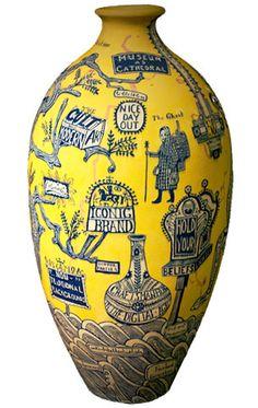 Grayson Perry (b. The Rosetta Vase, © Grayson Perry. Contemporary Ceramics, Contemporary Art, Arte Popular, Vase, Ceramic Artists, Mellow Yellow, Art Plastique, British Museum, Ceramic Pottery