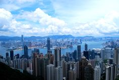 Panorama from the highest point of Hong Kong.