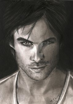 """This is the actor Ian Somerhalder, who plays Damon Salvatore character in the series """"The Vampire Diaries"""". Materials: Canson Paper 140g / m² Chalk pastels Pencil Crayon"""
