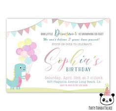 Dinosaur Birthday Invitation Dinosaur Invitations for a Girl Dinosaur Birthday Invitations, Magnolia, Rsvp, Place Card Holders, Handmade Gifts, Party, Etsy, Inspiration, Handcrafted Gifts