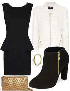 evening outfit #blackdress #whitejacket