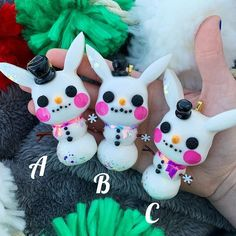"""The Spooky Seance Shop ♡ on Instagram: """"♡ ❌all sold❌ snow day pikas (will come with decorative ribbon to tie on christmas tree, as well as keychain, but these are fragile so…"""" Resin Charms, Christmas Tree, Christmas Ornaments, Ribbon, Snow, Tie, Holiday Decor, Instagram, Teal Christmas Tree"""