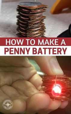 How To Make a Penny Battery — See how to a penny battery today and always have a quick source of power in an emergency. Perfect for small projects like powering a small clock or LED's light bulbs. Emergency Preparedness Kit, Emergency Preparation, Survival Prepping, Survival Skills, Survival Gear, Lifehacks, Materiel Camping, Survival Life Hacks, Survival Quotes