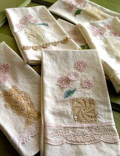 Tea towels using vintage tatting & crochet pieces.