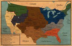 War-Torn: Nations of the Former United States by FinerSkydiver on DeviantArt Kansas Missouri, West East, Fantasy Map, Alternate History, Best Artist, Nebraska, Wyoming, Drawing S, Wisconsin