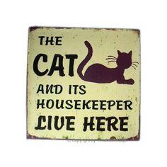 Vintage Cat Kitten Pet Iron Metal Wall Door Sign Plaque: