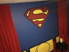 "Accent wall with iconic ""S"" shield Boys Superhero Bedroom, Superhero Logos, Superman, Wall, Design, Girl Swag, Toddler Girls, Walls"