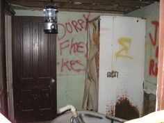 Inside the hotel at Vishnu Springs, Tennessee, Il. Don't know if it's been changed or not, but was abandoned for many years and people grafittied it.