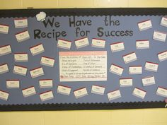 "High School Bulletin Board Ideas | With Great Expectations: ""Recipe for Success"" Opening Bulletin Boards"