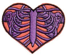 SKELETON HEART RIBCAGE IRON ON PATCH EMBROIDERY APPLIQUE ROCKABILLY GOTHIC