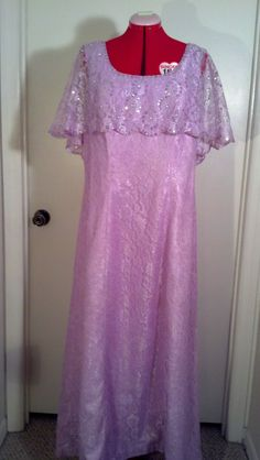 Mike Benet Formals light purple lace dress with sequin accents vintage