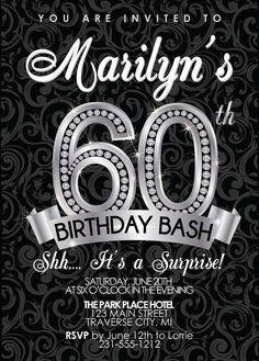 60th Birthday Invitation Adult Birthday Party by AnnounceItFavors