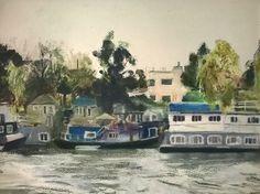 Houseboats Richmond - pastel - JR16