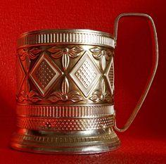 Vintage USSR Russian metal old tea Cup holder PODSTAKANNIK