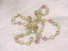 Long Necklace Pastel Crystals - unfoiled and open backed