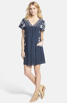 forgiving mini-dress for so many figures // Lucky Brand Embroidered Shift Dress available at #Nordstrom