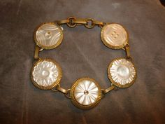 """Vintage Carved Shell Mother of Pearl Button Bracelet ~ 7-3/4"""" long x 7/8"""" wide by PastPossessionsOnly on Etsy"""