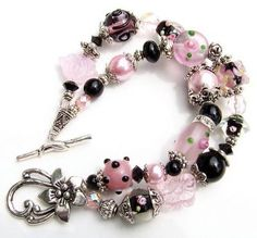 Double Strand Beaded Bracelet for pink beads