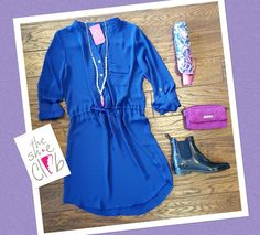 You know they say April showers bring May Flowers, but who expected the rain to continue? Let's try our best to get through this month without getting our socks wet  Royal Dress $44 Necklace $29 Vera Bradley Umbrella $34 Vera Bradley Bag $65 Sam Edelman Rain Boot $41.25 (sale)  ☎️ 210-824-9988