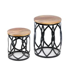 These accent tables are standouts with their bands of intertwining metal highlighted by natural-finish round wood tops. Contemporary and sleek, this duo will bring fantastic form and high function to