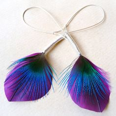 Goose feather and Peacock feather earrings