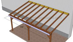 This step by step diy woodworking project is about how to build an attached carport. Learn how to build a carport attached to an already existing building, by paying attention to the instructions described in the article. Building A Carport, Diy Carport, Carport Plans, Pergola Plans, Woodworking Projects Diy, Diy Pallet Projects, Woodworking Plans, Japanese Woodworking, Woodworking Machinery