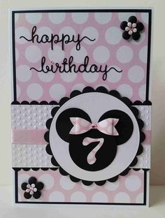 Girls Simple Minnie Mouse 7th Birthday Card Handmade & hand crafted. I like to make my own embellishments and a lot of my cards are cut by hand.