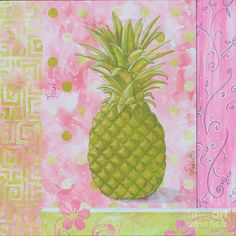 Coastal Decorative Pink Green Floral Greek Pattern Fruit Art Fresh Pineapple By Madart Painting  - Coastal Decorative Pink Green Floral Gree...