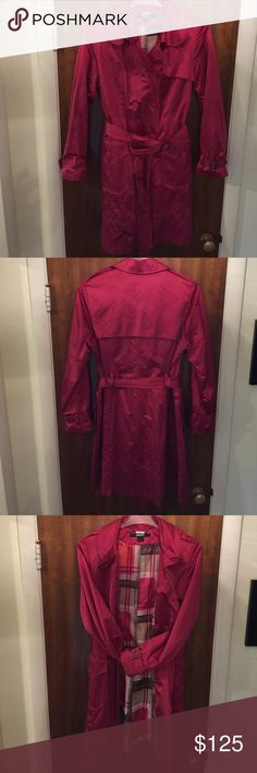DKNY Metallic Satin Trench Coat Women's DKNY Metallic Satin Trench Coat. EUC Only wore a few times. Color: Magenta Size: L DKNY Jackets & Coats Trench Coats