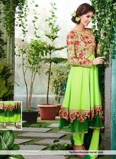 Liril Green Color Georgette Fabric Anarkali Suit