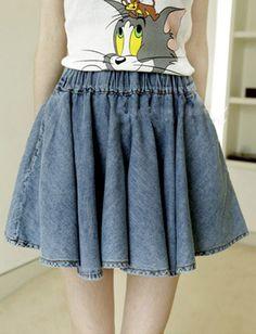 Japanese A-Line Pocket Design Denim Skirt