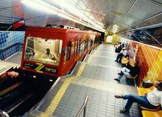 Carmelit, an uphill subway on the interior of Mt. Carmel, Haifa, Israel