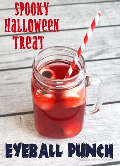 Spooky Bloody Eyeball Halloween Punch Drink (made with lychees and blueberries) #SpookyCelebration #shop