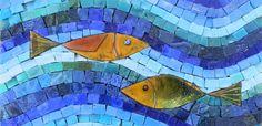 cheek mosaics | Fish Tiles #7 - Mexican Smalti and Hand Made Enamel Fish