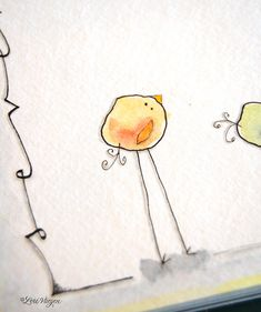 How to draw cute little birds (piggies, bunnies...) from a blob of watercolor, outlined then 'accessorized.'