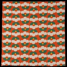 the hill-side Cotton Linen Blend Geometric Flower Print Bandana in Orange Geometric Flower, Geometric Patterns, Bandana Print, Flower Prints, Cotton Linen, Orange, Flowers, Decor, Cotton Sheets
