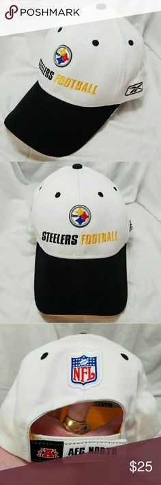 NFL Reebok Pittsburgh Steelers AFC Noeth Ball Cap Brand: NFL Teak Apparel on Field by Reebok  Item: *White with Black Bill Pittsburgh Steelers Football Baseball Cap Hat *Steelers Football & Their Emblem Embroidered on the Front *Reebok Emblem Embroidwred on Left Side *Has Off8cial NFL Patch on Back, Holographic Sticker for Authenticity Under Bill *Adjustable Velcro Tab Has Patch That Says A with Stars Around It and AFC North National Dootball League  *no trades, offers via offer button only…