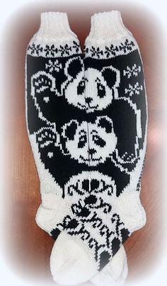Ravelry: Hello panda pattern by Katja Makkonen Knitted Mittens Pattern, Knit Mittens, Knitting Socks, Knitting Patterns, Panda Socks, Hello Panda, Fair Isle Knitting, Ravelry, Crochet