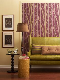 Framing a patch of wallpaper adds fantastic drama and color to this seating arrangement. Grey And Red Living Room, My Living Room, Home And Living, Multipurpose Dining Room, Color Magenta, Purple Colors, Purple Trees, Modern Interior, Interior Design