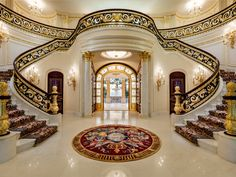 This almost unbelievably grandiose beachfront estate in Hillsboro Beach is going to auction late this fall. The property has been dubbed Playa Vista Isle, and Luxury Staircase, Grand Staircase, Staircase Design, Double Staircase, Grand Foyer, Florida Mansion, Florida Home, South Florida, Style At Home