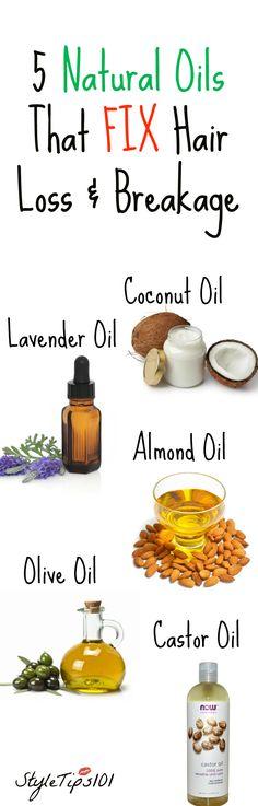 5 Natural Oils That Stop Hair Loss & Breakage