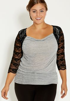 plus size heathered drape neck top with lace sleeves - #maurices
