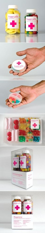 Happy pills - great packaging and branding . clear packaging for colourful candies Craft Gifts, Diy Gifts, Cheap Gifts, Noel Gifts, Diy Cadeau, Little Presents, Ideias Diy, Happy Pills, Creative Gifts